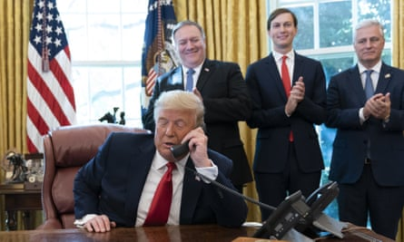 Donald Trump talks to the leaders of Sudan and Israel  on the phone.