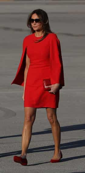 Melania Trump in flats, en route to Mar-a-Lago in February.
