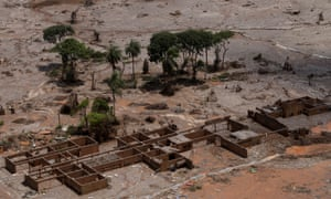 The debris of a school, which was covered with mud after a dam owned by Vale SA and BHP Billiton Ltd burst in Mariana, Brazil.