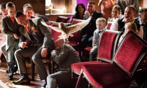 The owl swoops down at Jeni Arrowsmith and Mark Wood's wedding