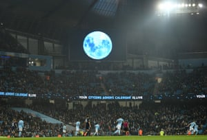 A blue moon is projected onto a big screen as the leaders stay unbeaten in the Premier League. Pep Guardiola is still three victories away from his best-ever winning streak in league football as a manager – 19 consecutive wins with Bayern Munich between October 2013 and March 2014.
