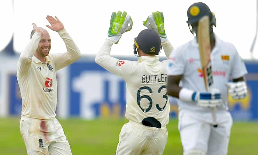 Jack Leach celebrates taking the wicket of Angelo Mathews on day four of the first Test between England and Sri Lanka.