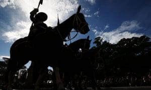 Servicemen make their way down Elizabeth Street during the ANZAC Day parade on April 25, 2017 in Sydney, Australia.