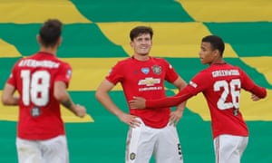 Harry Maguire of Manchester United celebrates after scoring the extra time winner.