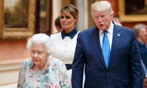 Donald and Melania Trump meet the Queen at Buckingham Palace.