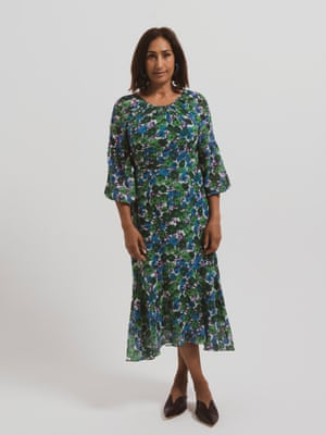 model wears dress, £189, whistles.com. Mules, £125, cosstores.com.