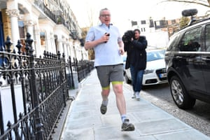 The UK environment secretary, Michael Gove, runs near his home in London
