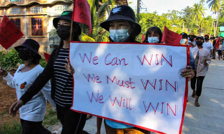 A protest in Dawei, Myanmar, against the military coup