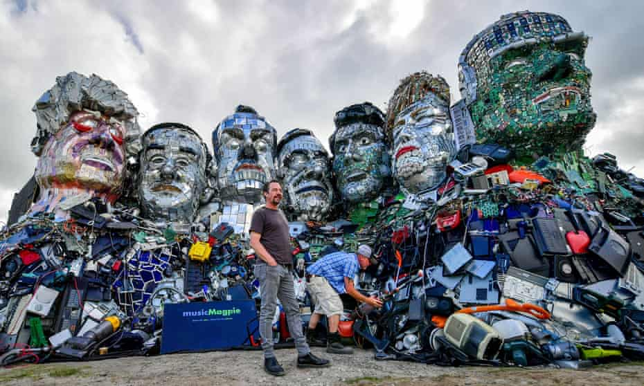 'Maybe our leaders will catch up' … Joe Rush with Mount Recyclemore, a sculpture made from discarded electronics installed at the G7 summit.