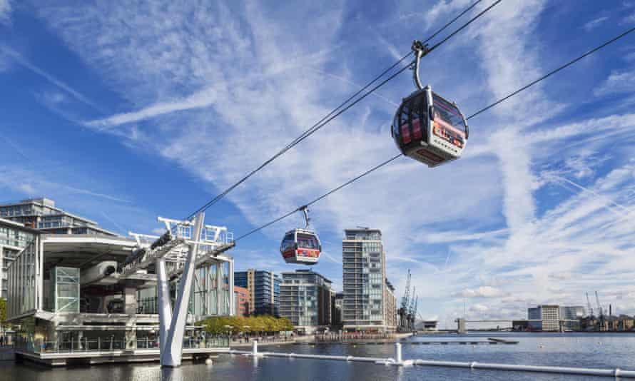 The Emirates Air Line, also known as the Thames cable car.