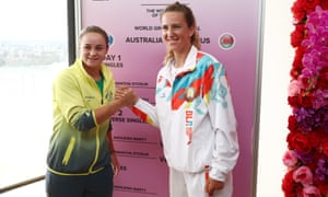 Ashleigh Barty and Victoria Azarenka pose during Official Fed Cup draw.
