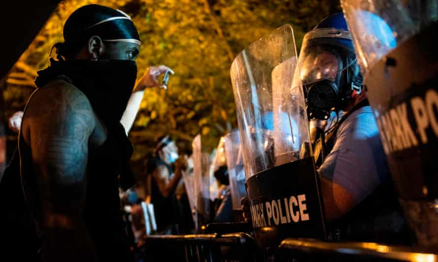 Military Police face off with protesters across from the White House on May 30, 2020 in Washington DC.
