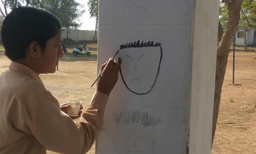 Child painting Indian school