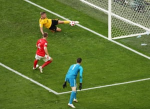 Belgium's Toby Alderweireld clears a shot off the line from England's Eric Dier