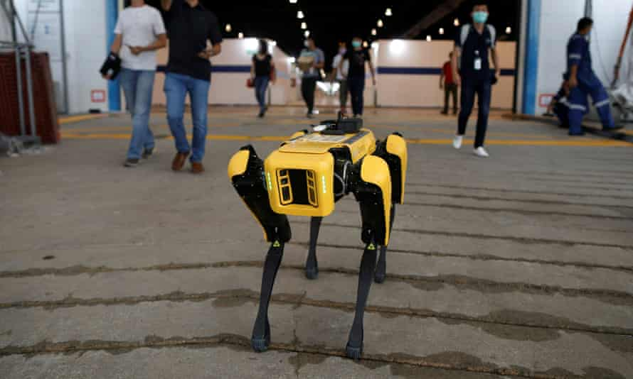 A Boston Dynamics robot is being used to enforce social distancing in Singapore parks and to deliver medicines there.