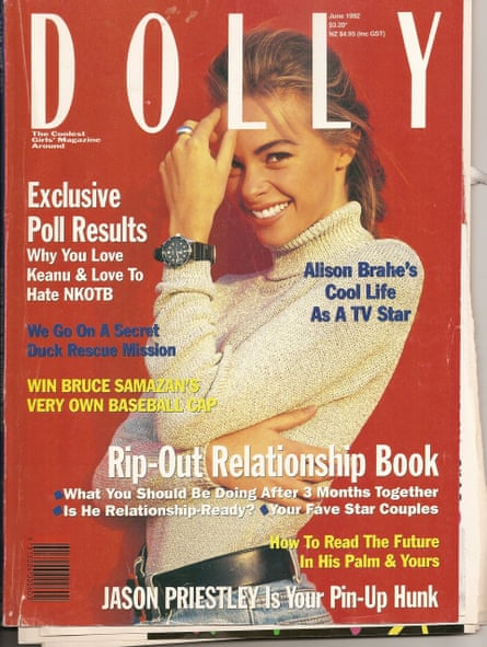 Cover of Dolly magazine from 1992 with model Alison Brahe