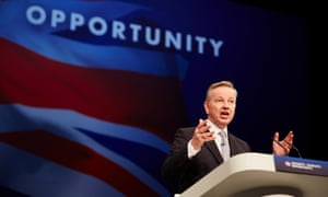 Justice secretary Michael Gove, pictured addressing the Tory conference in Manchester, circulated a cabinet memorandum on the human rights concerns of doing business with Saudi prison authorities.