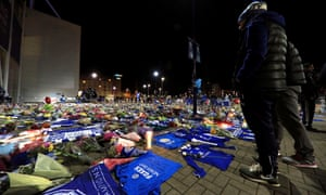 Fans outside the King Power on Sunday night.