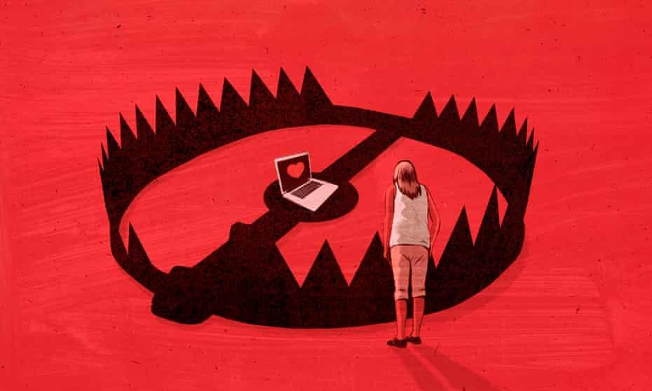 internet dating scam illustration