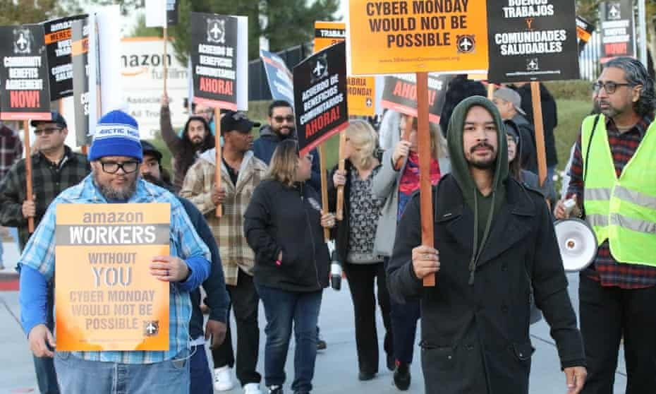 Activists demonstrate in support of Amazon workers at an Inland Empire warehouse last year