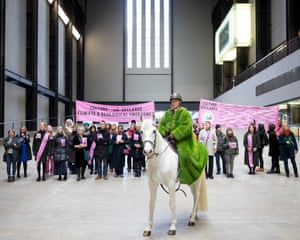 London, UK. Arts and culture institutions and individuals join a horse-led protest, organised by Culture Declares Emergency to highlight climate and ecological change. Pictured in the Tate Modern's Turbine Hall