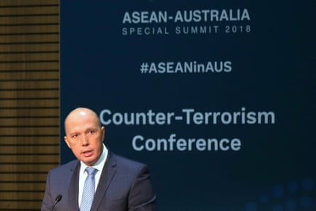 Australia's home affairs minister, Peter Dutton, at the counter-terrorism conference during the Asean summit in Sydney.