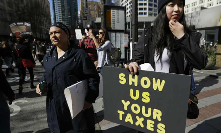 A rally in Seattle calling for the release of the president's tax returns.