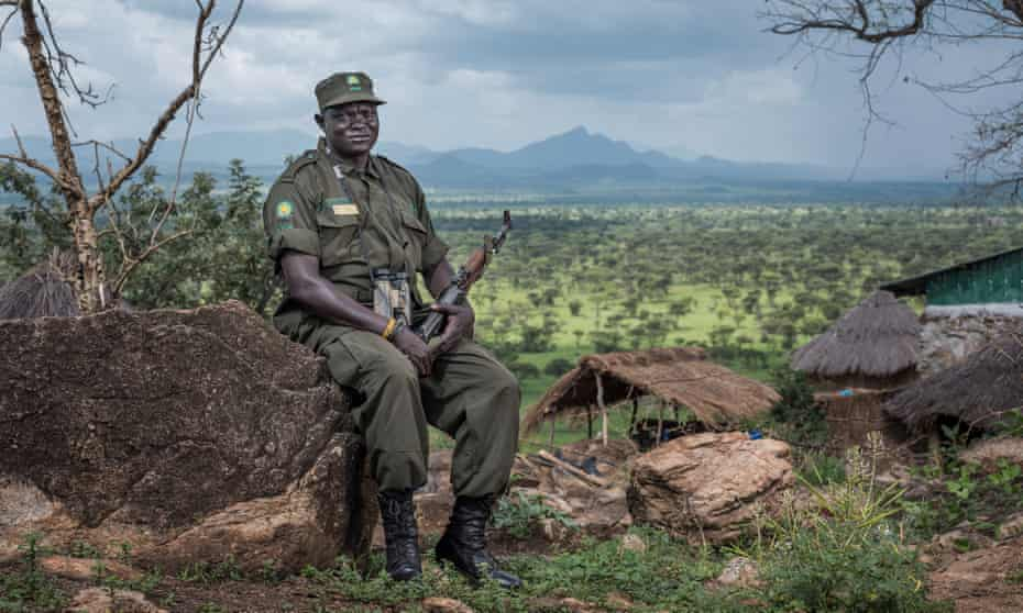 Samuel Loware at the rangers' outpost on the South Sudan border in Kidepo Valley national park.