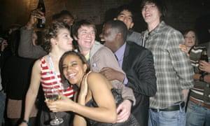 The cast of Skins in 2008 (left to right) Aimee-Ffion Edwards, Larissa Wilson, Joe Dempsie, Daniel Kaluuya, Dev Patel and Nicholas Hoult.