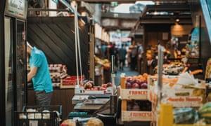 Fruit stalls at Balti Jaam market, Kalamaja, Tallinn, Estonia.