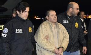 Authorities escort Joaquín Guzmán in Ronkonkoma, New York on 19 January 2017.