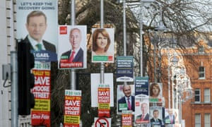 Election posters outside government buildings in Dublin.