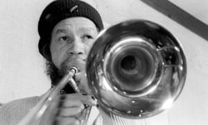 Rico Rodriguez playing the trombone.
