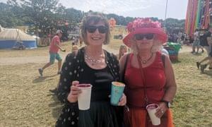 Glastonbury people's assembly: (L-R) Leslie and Rachel.