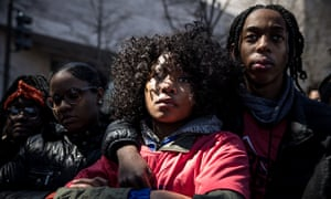 Jada Wright, 17, and her boyfriend Carl Payne, 18, from Eastern High School in Washington, DC, attend the March for Our Lives rally.