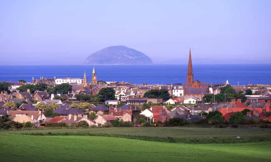 the town of Girvan, with Ailsa Craig out to sea