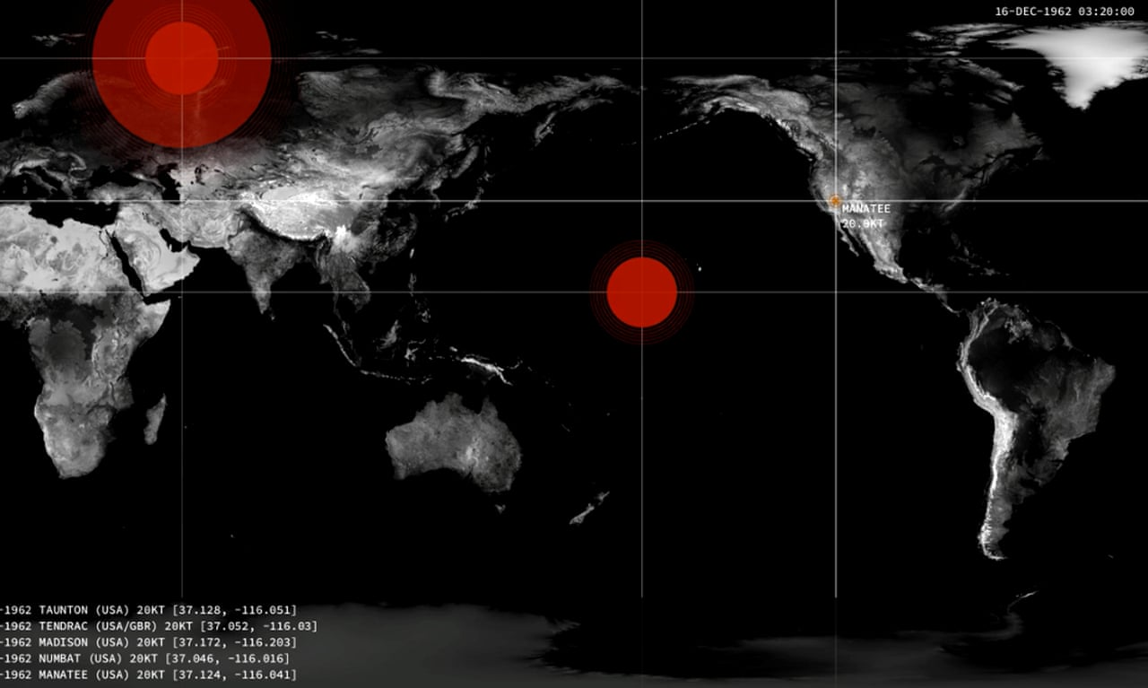 Nuclear detonations from 1945 to present plotted on a world map ...