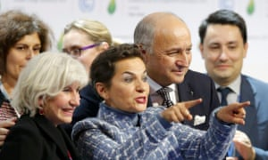 Christiana Figueres and French foreign minister Laurent Fabius welcome the final agreement.