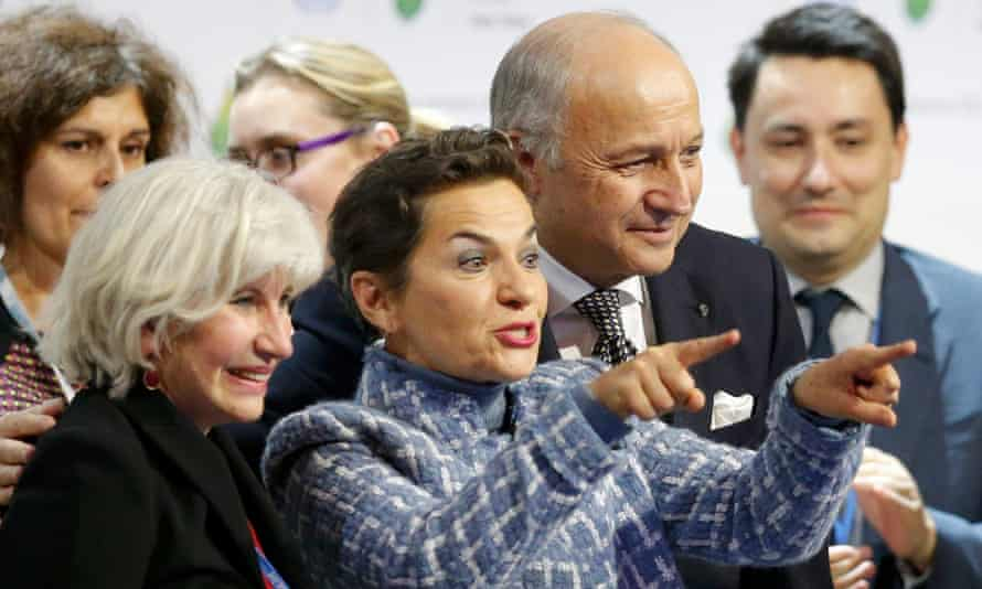 Christiana Figueres, Executive Secretary of the UN Framework Convention on Climate Change, celebrates at the conclusion of COP21 climate discussions in Paris