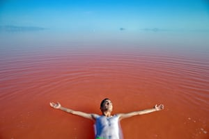 A man swims in Lake Urmia, northwestern Iran.