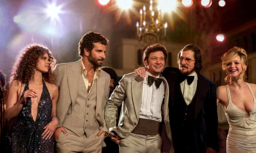 Jennifer Lawrence with her American Hustle co-stars