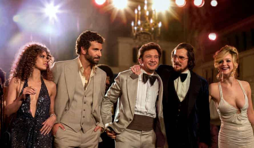Amy Adams, Bradley Cooper, Jeremy Renner, Christian Bale and Jennifer Lawrence in American Hustle