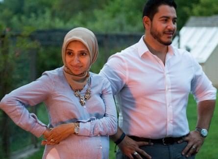 Abdul El-Sayed and his wife, Sarah Jukaku, at a cookout in Ann Arbor.