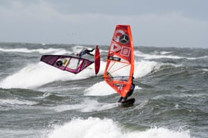 Action in the Windsurf World Cup off Sylt Island, Germany
