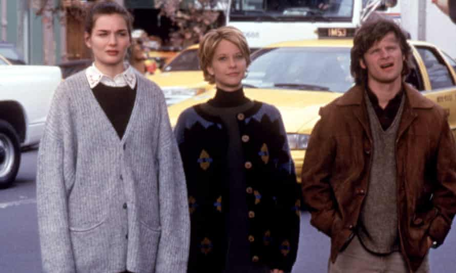 Meg Ryan with Heather Burns and Steve Zahn in You've Got Mail, all wearing many jumpers