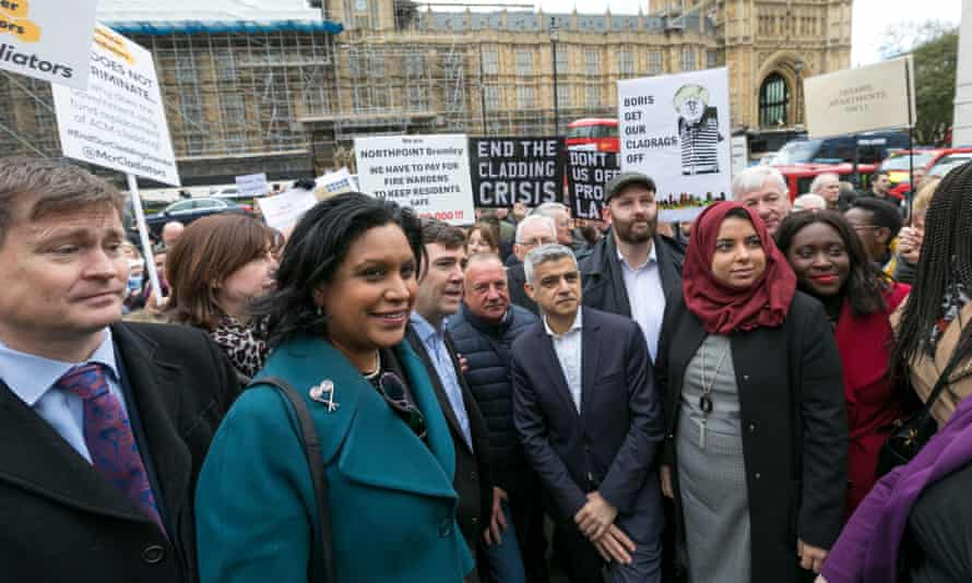 MPs join campaigners from the UK Cladding Action Group outside Parliament on behalf of all residents trapped in unsafe buildings, due to Grenfell style cladding.