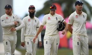 England captain Joe Root, Jonny Bairstow, Moeen Ali and Jimmy Anderson look dejected after losing the second Test and the series in Antigua on Saturday.