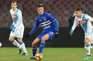 Patrik Schick, centre, initially suffered from homesickness at Sampdoria but has settled successfully in Italy.
