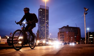 A cycling commuter in Manchester.