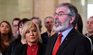 Sinn Féin's leader Michelle O'Neill with Gerry Adams at parliament buildings in Belfast.